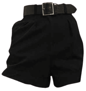 black mom shorts with belt