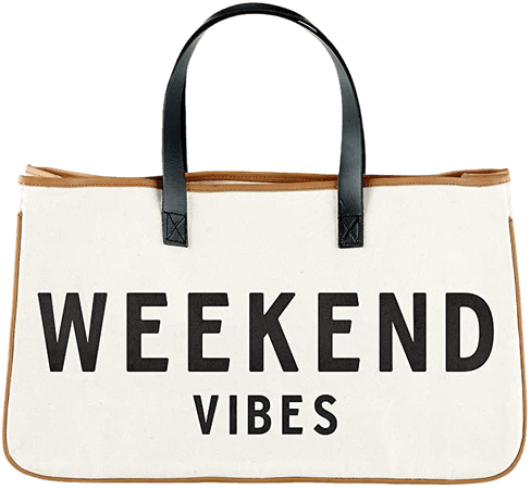 """Amazon.com: Creative Brands D3712 Hold Everything Tote Bag, 20"""" x 11"""", Weekend Vibes: Home & Kitchen"""