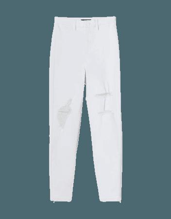 Super high-rise ripped twill skinny pants - Pants - Woman | Bershka