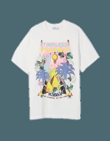 Printed short sleeve oversize T-shirt - Tees and tops - Woman | Bershka
