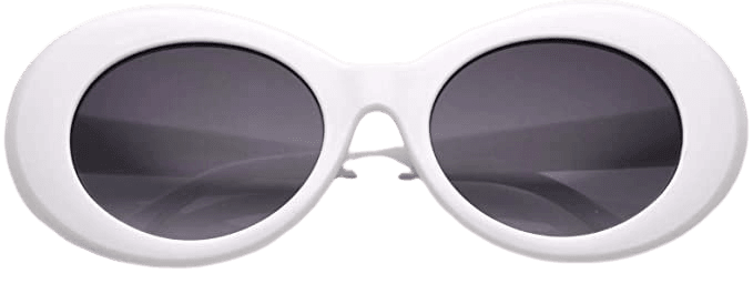 Amazon.com: zeroUV - Bold Retro Oval Mod Thick Frame Sunglasses Clout Goggles with Round Gradient Lens 51mm (White/Lavender): Clothing