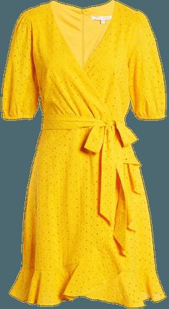 Julia Jordan Balloon Sleeve Cotton Eyelet Faux Wrap Dress   Nordstrom