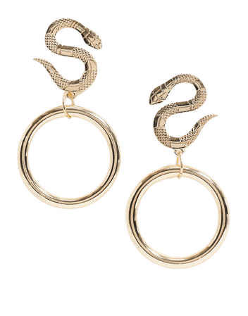 ASOS DESIGN earrings with snake stud and hoop drop in gold tone | ASOS
