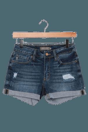 Medium Wash Shorts - Cuffed Denim Shorts - Mid-Rise Denim Shorts - Lulus