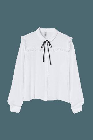 Tie-neck Blouse - White