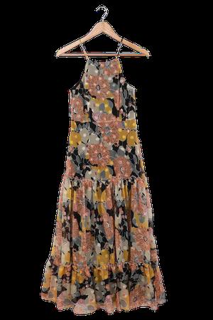 Floral Jacquard Midi Dress - Tiered Midi Dress - Chiffon Midi - Lulus