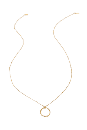 Gold Necklace - Round Pendant Necklace - 14KT Gold Necklace - Lulus