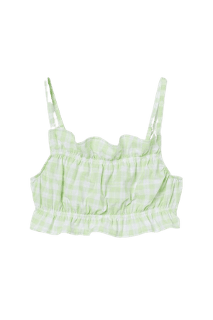 Flounce-trimmed Crop Top - Light green/white checked - Ladies   H&M US
