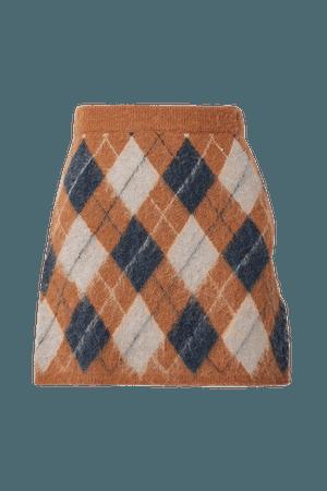 Veronica Argyle Knitted Mini Skirt - Tan