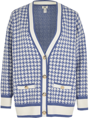Blue houndstooth gold button cardigan | River Island