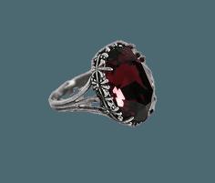 Victorian Gothic Ring Dark Seas Swarovski Crystal
