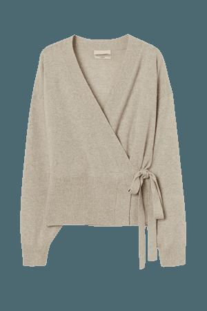 Wrapover Cashmere Cardigan - Beige