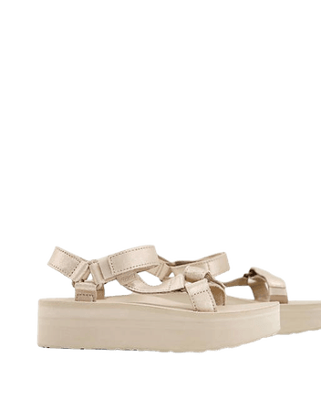 Teva Flatform Universal chunky sandals in metallic champagne leather | ASOS