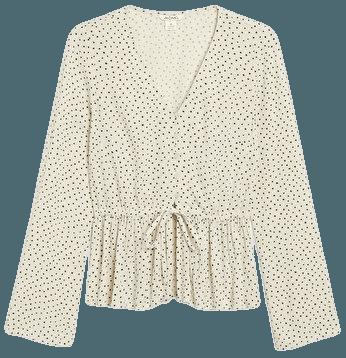 Crepe blouse - White and black polka dots - Shirts & Blouses - Monki WW