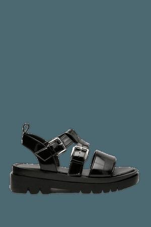 Faux Leather Low Block Heel Buckle Sandals   Nasty Gal
