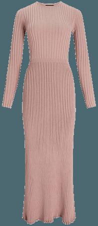 Ribbed Crew Neck Maxi Sweater Dress | Express
