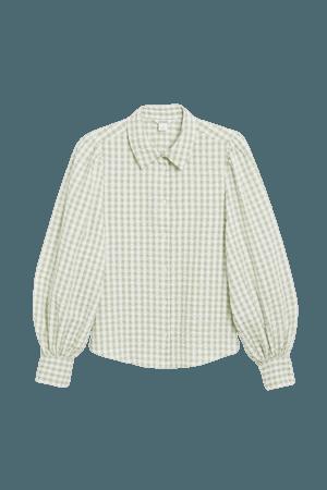 Balloon sleeve shirt - Gingham pattern - Shirts & Blouses - Monki WW