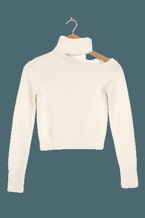 White Cutout Sweater - Cropped Sweater - Knit Sweater - Lulus