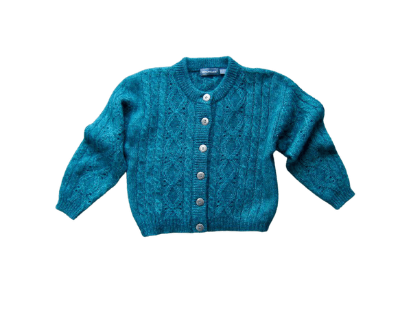 Oversized Cropped Mohair Cardigan Sweater 90s Teal Green | Etsy
