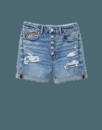 AE Pride Curvy High-Waisted Denim Short Short