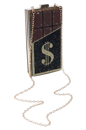 BLING CHOCOLATE MONEY CLUTCH in color black multi