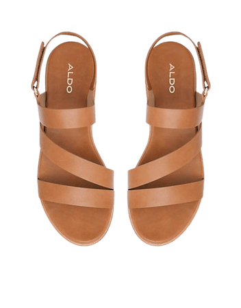 ALDO Perwell strappy flatfrom sandals in cognac   ASOS