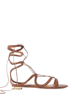 Pompei Lace-up Leather Sandals - Tan