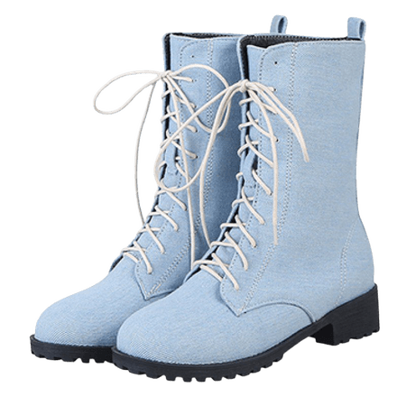 Zmori Blue Light Denim Jeans Lace Up High Top Womens Military Combat Boots Shoes