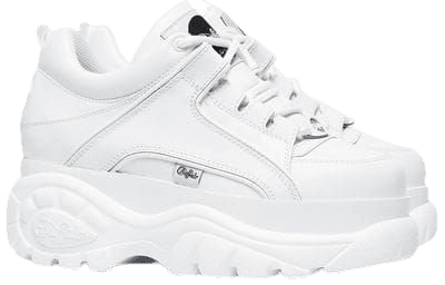 white chunky platform sneakers