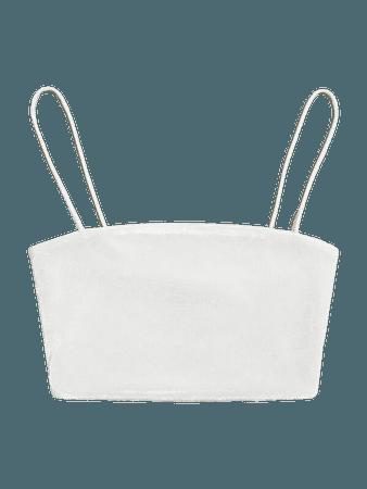 Solid Velvet Crop Cami Top | SHEIN USA white