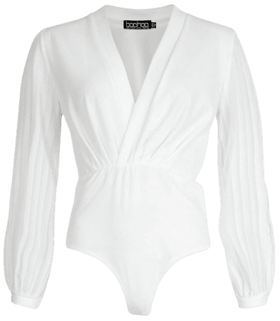 Wrap Stripe Chiffon Bodysuit | boohoo white