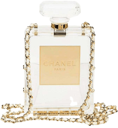 Chanel Runway Clear Resin Leather Gold Perfume Bottle Chain Evening Shoulder Bag