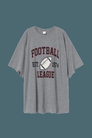 Printed T-shirt - Light gray melange/Football - Ladies   H&M US