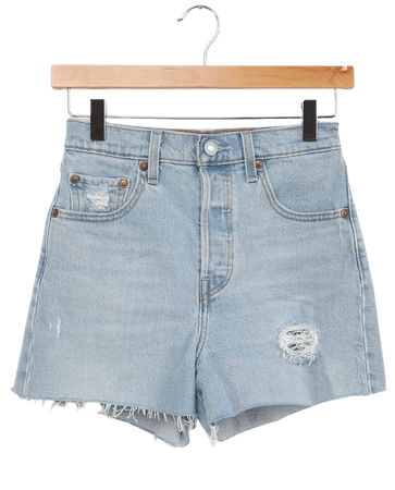 Levi's Ribcage Shorts - Light Wash Shorts - High Rise Shorts - Lulus