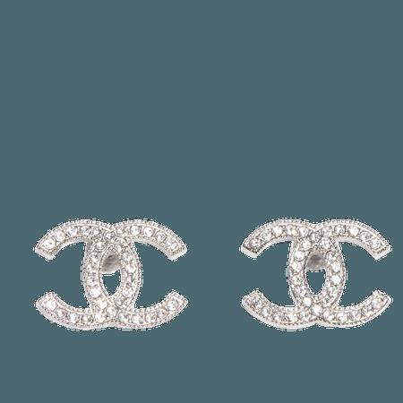 CHANEL Crystal CC Earrings Silver 76925