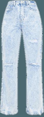 Acid Blue Wash Distressed Hem Wide Leg Jeans | PrettyLittleThing USA