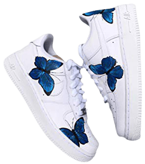 Amazon.com: HANDPAINTED Nike AF1 - ONLY 25 Made - BLUE BUTTERFLY AIR FORCES: Handmade
