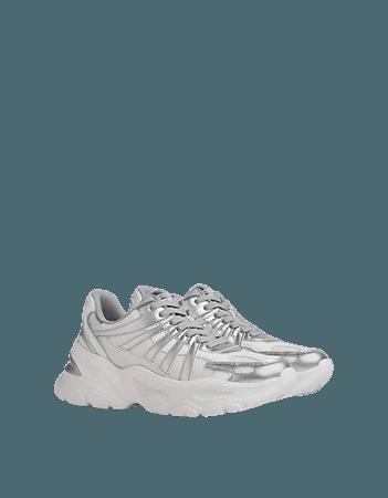 Bershka chunky sneakers in white with metallic detail | ASOS