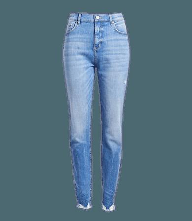 Plus High Rise Chewed Hem Skinny Jeans in Vintage Wash