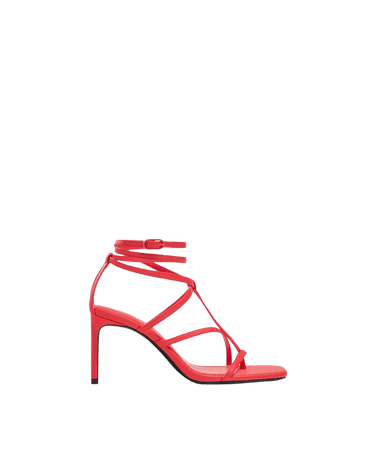 High-heel strappy sandals with ankle strap - Shoes - Woman | Bershka