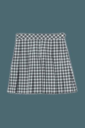 Pleated Skirt - Light blue/black plaid - Ladies | H&M US