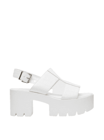 Chunky Faux Leather Croc Cut Out Sandals | Nasty Gal