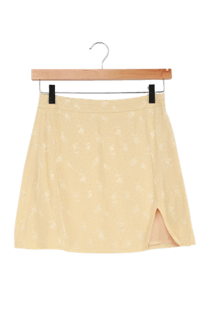 Light Yellow Skirt - A-Line Mini Skirt - Jacquard Mini Skirt - Lulus