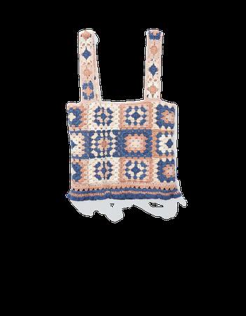 AE Cropped Crochet Tank Top