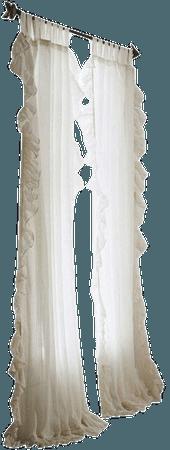 Plum & Bow Ruffle Gauze Curtain - White