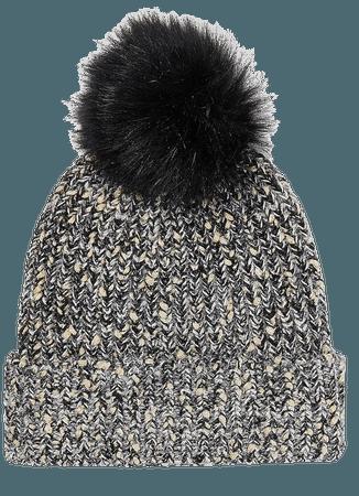 Metallic Ribbed Knit Pom Beanie