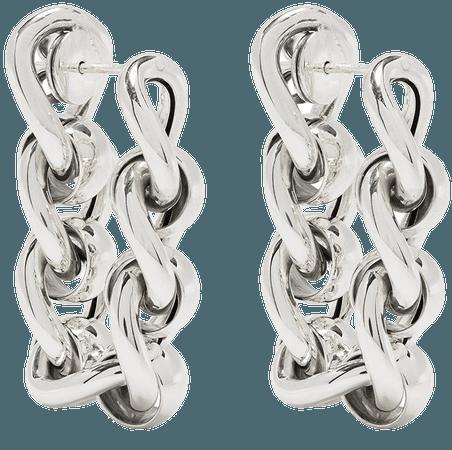 Shop silver Bottega Veneta chain hoop earrings with Express Delivery - Farfetch