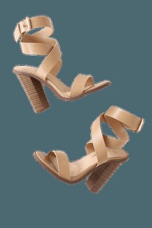 Cute Nude Heels - Ankle Strap Heels - Wood-Look Stacked Heels