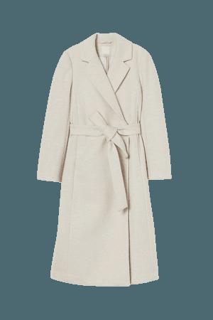 Tie Belt Coat - Light beige/herringbone - Ladies   H&M US