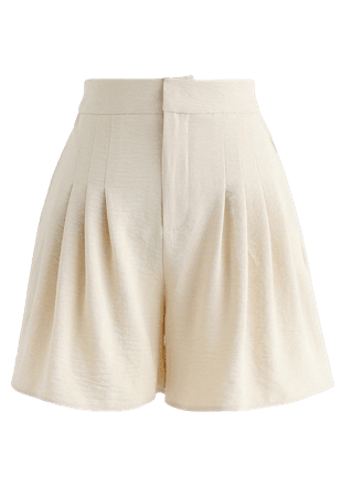 High-Waisted Pleated Shorts in Cream - NEW ARRIVALS - Retro, Indie and Unique Fashion